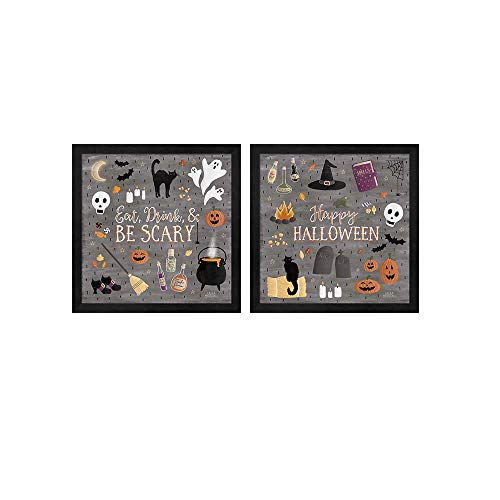 Haunted Halloween A by Laura Marshall, 2 Piece Black Framed Art Set, 13 X 13 Inches Each, Halloween Art -