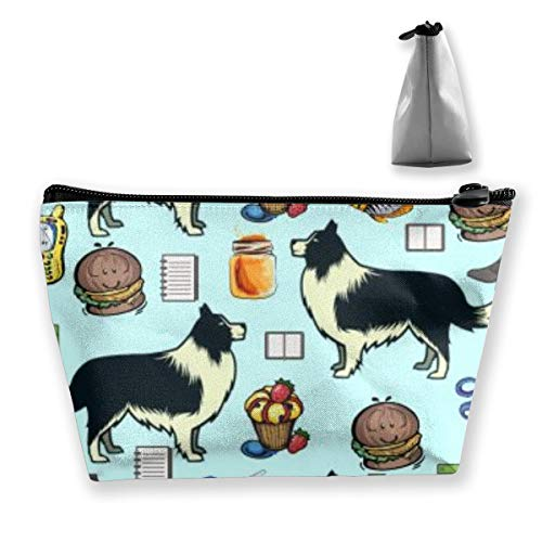 OLOSARO Cosmetic Bag Travel Makeup Portable Toiletry Pouch Organizer Clutch Bag with Zipper Border Collie