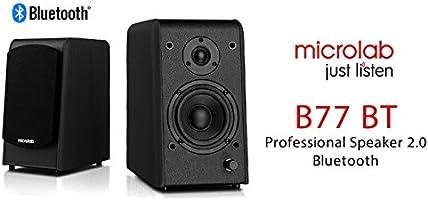 Caixa de Som Microlab 2.0 64W B77BT Preto - Design Requintado com Acabamento em Madeira, Bluetooth