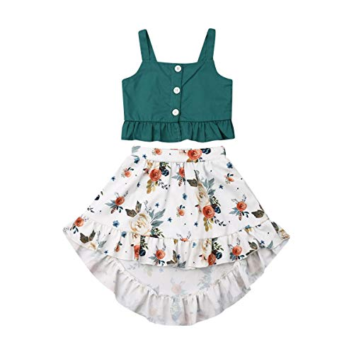 Toddler Baby Girls Ruffle Strap Top+Boho Floral Skirt Summer Outfit Clothes Two Piece Set (Green Crop Top+White Floral Skirt, 1-2T)