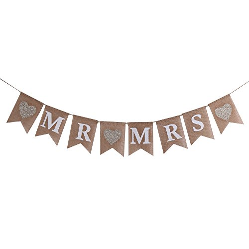 Hanging Banner Sign (Sunny ZX MR and MRS Burlap Bunting Banners Garland - Vintage Rustic Wedding Table Hanging Signs for Bridal Shower, Wedding Photo Booth Props Backdrop Decoration, 8pcs Flags)