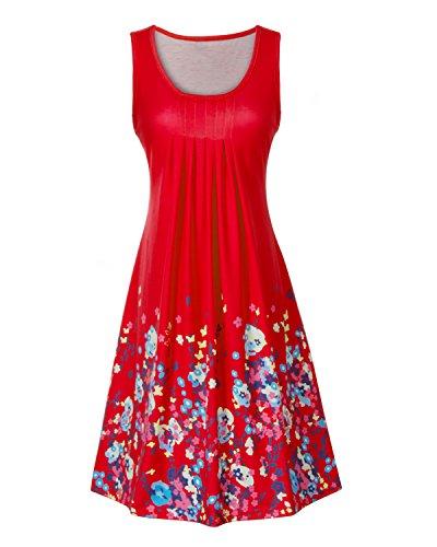 Tunique Lache Manches sans Col Et Plage Femme Robe Robe A Rouge Rond de Casual Imprime Ligne xq7Bfz