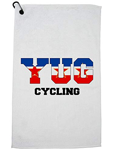 Hollywood Thread Yugoslavia Cycling - Olympic Games - Rio - Flag Golf Towel with Carabiner Clip by Hollywood Thread