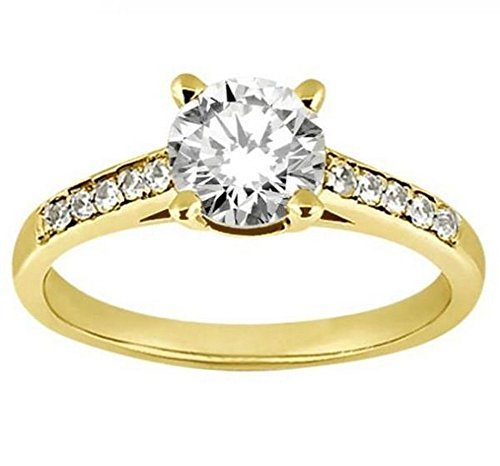 (Cathedral Pave Diamond Engagement Ring Setting 18k Yellow Gold (0.20ct) )