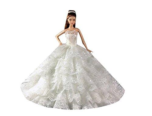 Shero Handmade Deluxe Version Princess Dress Wedding With Veil For Barbie Dolls White