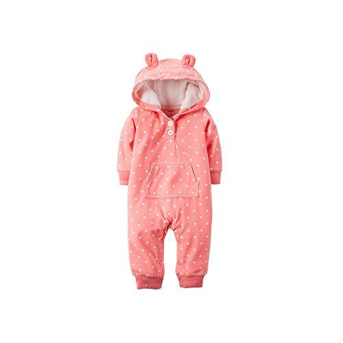 Carter's Baby Girls Appliqué Hooded Fleece Jumpsuit (24 Months, Coral)