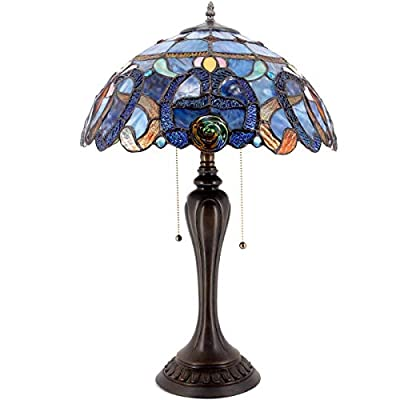 Tiffany Lamps Stained Glass Coffee Table Lamp 24 Inch Tall Blue Purple Cloudly Crystal Flower Shade 2 Light Antique Base As Living Room Bedroom Desk Beside Dresser S558 WERFACTORY