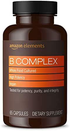 Amazon Elements B Complex, High Potency, 83% Whole Food Cultured, Vegan, 65 Capsules, 2 month supply (Packaging may vary)