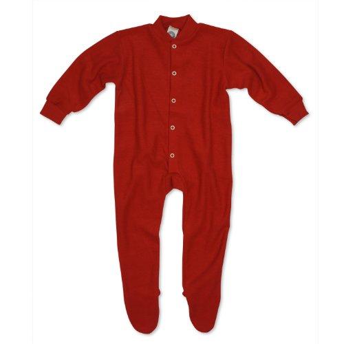 Cosilana Baby Schlafanzug mit Fuß, Farbe Rot, Größe 86, Woll-Frottee 100% Schurwolle kbT