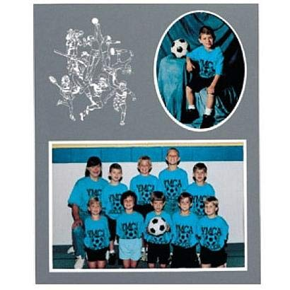 Logo Double Photo Frame - SPORTS Player/Team 7x5/3x5 sports MEMORY MATES Gray cardstock double photo frame sold in 10's - 5x7