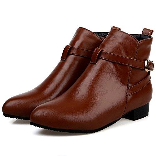 COOLCEPT Women Elegant Low Heel Dress Boots With Belt Buckle Brown agnFhJTYp9