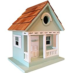 Fishing Lake Cottage Birdhouse is a Whimsical and Peaceful Lakefront Teal Green Cottage that is a fully functional Outdoor Wood Birdhouse