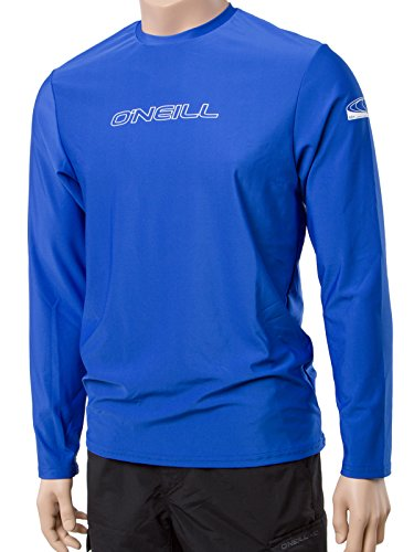 O'Neill Wetsuits UV Sun Protection Mens Basic Skins Long Sleeve Tee Sun Shirt Rash Guard, Pacific, Large (Pacific Wetsuit)