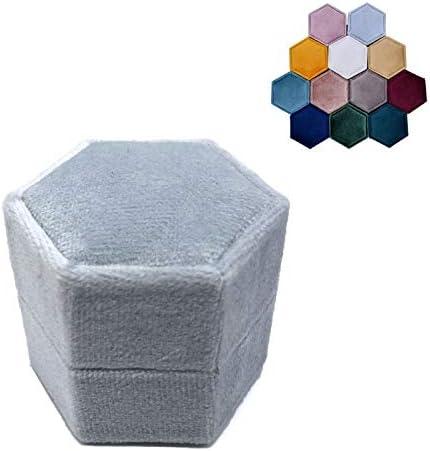 Caja de anillo de terciopelo hexagonal doble para ceremonia de boda con tapa desmontable Naturaleza: Amazon.es: Hogar
