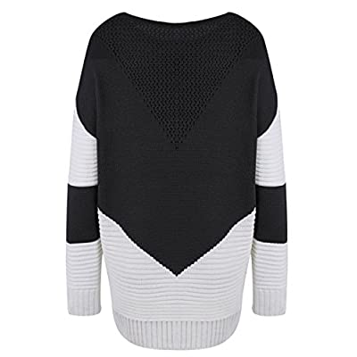 shermie Women Long Sleeve Crew Neck Pullovers Stitching Color Loose Knitted Sweaters at Women's Clothing store