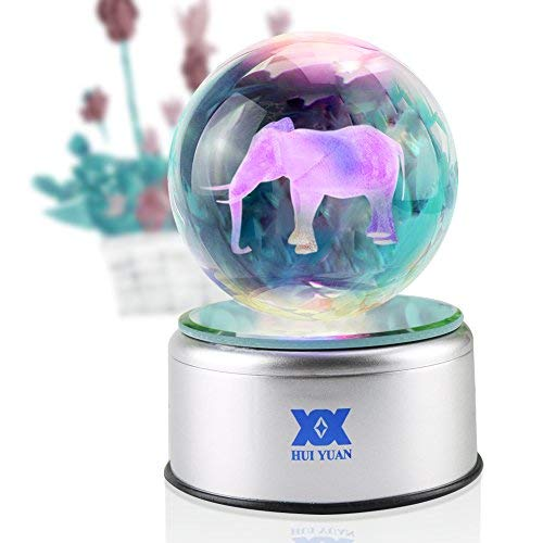 Elephant Gifts Decor Figurines 3D Crystal Ball LED Night Light Clear Laser Engraved Pokeball 80mm Stand Light Up Silver Rotate Mirrored Base 7 Colors USB Magic Gift Box for Home Office decoration ()