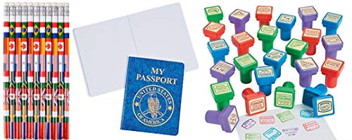 HAPPY DEALS ~ Set of 24 - Passport Stampers and 24 Passport notepads and 24 Around The World Pencils -Passport Party -