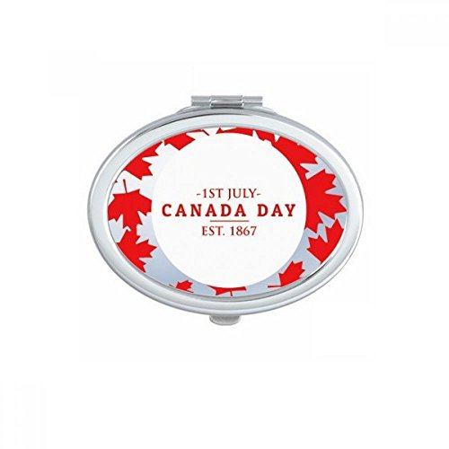 Happy Canada Day 4th Of July EST 1867 Maple Leaf Oval Compact Makeup Pocket Mirror Portable Cute Small Hand Mirrors Gift ()