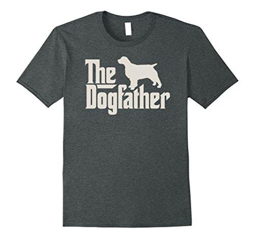 Mens The Dogfather English Springer Spaniel Funny Dog Owner Shirt Large Dark Heather