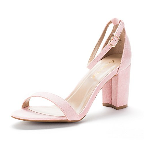 Heel Shoes Wedge Suede - DREAM PAIRS Women's Chunk Pink Low Heel Pump Sandals - 8 M US
