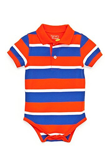 Nursery Rhyme Baby-Boys Play Striped Fashion Polo Bodysuit (24 Months, Red/Blue)