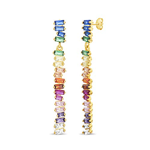 Devin Rose Yellow Gold Plated Sterling Silver Rainbow Baguette Cubic Zirconia Bar Drop Dangle Earrings for Women with Post and Nut Backs