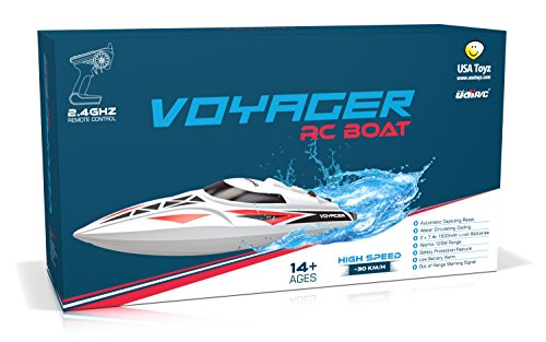 UDI007 Voyager Remote Control Boat for Pools, Lakes and Outdoor Adventure - 2.4GHz High Speed Electric RC Boat - includes BONUS BATTERYDoubles Racing Time - [Large Size]