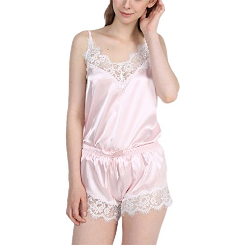 Summer New Women's Silk V-Neck Strap Shorts Lace Home Pajamas Pink Colour S
