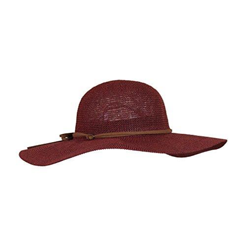 Adjustable Cranberry Red Lightweight Sun Hat For Women w/ Hatband, Floppy Straw Crochet Hat w/ Brim
