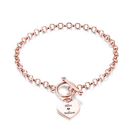Yoke Style Personalized Name Bracelet, Custom Initial Heart Link Bracelet Gift for ()