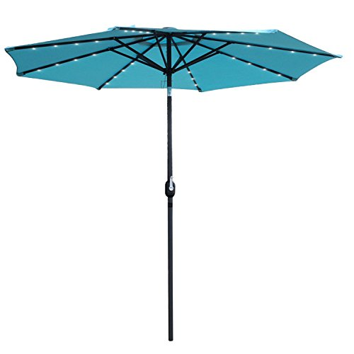 Snail 9 ft Aluminum Solar Patio Umbrella with 32 LED Lights, Fade Resistant Illuminated Garden Market Umbrella with Push Button Tilt, Light Blue (Umbrellas Patio Sale Tilting)