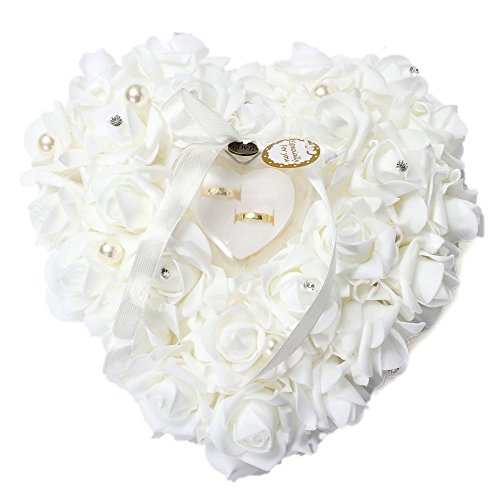 Freesooth Wedding Ring Pillow, White Ring Pillow Lace Crystal Rose Wedding Heart Ring Box Ring Holder