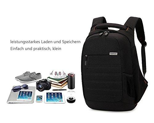 Asge Einfarbig Business Rucksack nylon Schulrucksack Männer Schultasche hochschule Backpack Groß Laptoprucksack 15.6 zoll Schwarz
