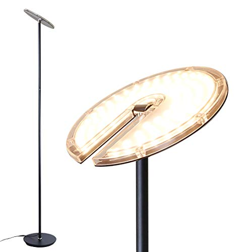 O'Bright Dimmable LED Torchiere Floor Lamp, 270° Tilt Head, 3000 Lumens, Adjustable Brightness, Standing Pole Lamp/Reading Light/Floor Lamps for Living Room, Bedrooms, Dorm and Office (Black)