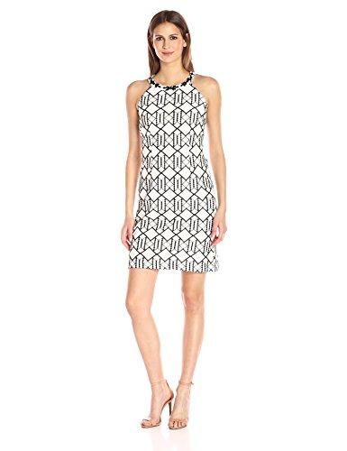 Nine West Women's Sleeveless a-Line Dress with Embellished Neckline, Ivory/Black, - Neckline Dress Embellished