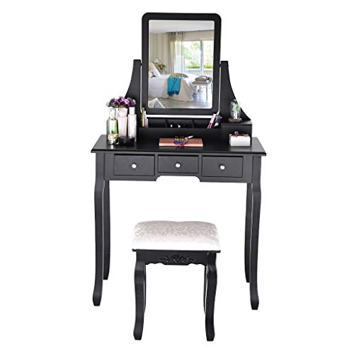 Azcczzii Makeup Table-Vanity Set with Mirror & Cushioned Stool Dressing Table Vanity Makeup Table 5 Drawers 2 Dividers Movable Organizers Black & White (Black) (Table Chair Makeup)