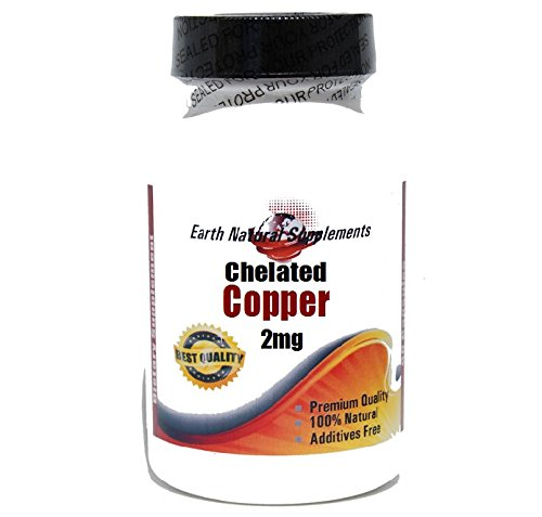 Chelated Copper 2mg * 200 Caps 100 % Natural - by EarhNaturalSupplements