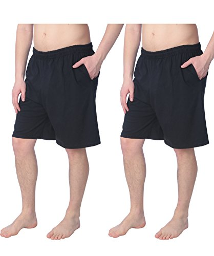 All Sports Jerseys - Fruit of the Loom 2 Pack Tagless Mens Shorts with Pockets 9 inch Inseam Athletic Cotton Running Shorts, Black, Medium