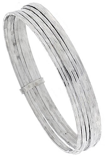Amazon Com Sterling Silver 7 Day Bangle Bracelet Textured Wire