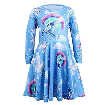 Amazon.com: Mwfus - Vestido de manga larga con estampado de ...