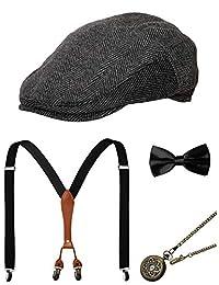 Zivyes 1920s Mens Accessories Gatsby Gangster Costume Accessories Set Manhattan Fedora Hat Suspenders Bow Tie Pocket Watch
