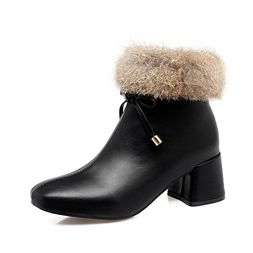 Urethane Closed Black Kitten Womens Bootie Lining Fringed Heel 1TO9 Zip Boots Leather Warm MNS02659 Toe Smooth Boots Cushioning 64EXTx