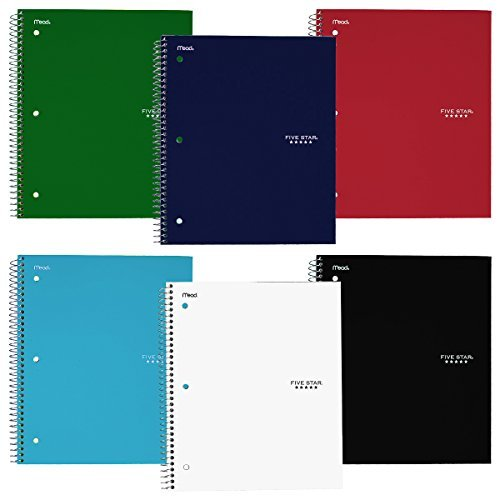 - Five Star Wirebound Notebook, 3-Subject, 150 College Ruled Sheets, Assorted Colors (Pack of 6)