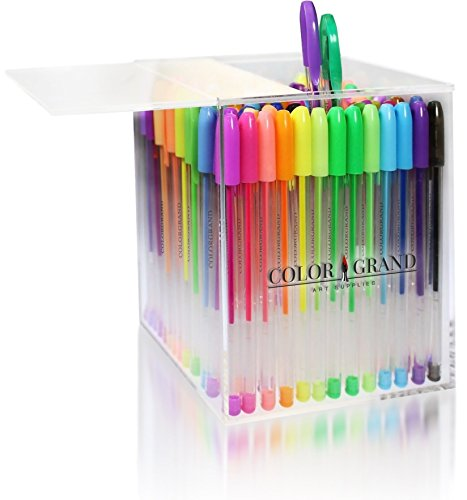 Gel Pens Set for Adult Coloring Books – 100 Glitter Colored Pens Drawing Supplies