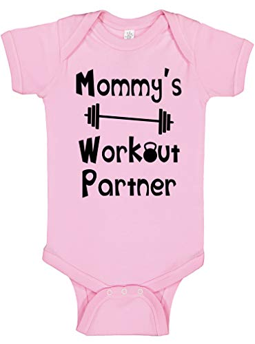 Reaxion Aidens Corner - Mommys or Daddys Workout Partner Bodysuits - Funny Baby Boy & Girl Clothes (0-3 Months, Mom_Pink)