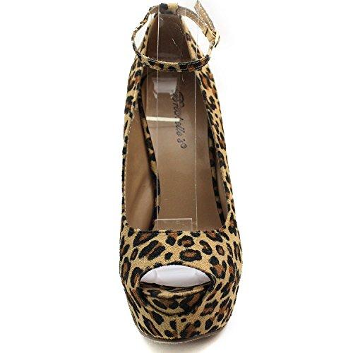 Le Donne Peep Toe Mary Jane Cinturino Alla Caviglia Piattaforma Sexy Stiletto Breckelles Pumps Leopardato