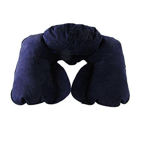 ダークブルーUシェイプエアクッションヘッドレストインフレータブル枕パッドネックガード B01F00RED0