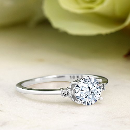 10K White Gold Engagement Solitaire Ring set with 1.23 Ct White Created Sapphire and White Diamonds
