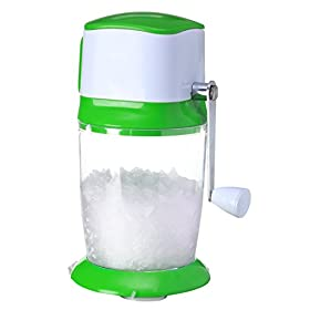 [UPGRADED] Ice Crusher Shaver Manual Hand Crank Ice Grinder for Fine or Coarse Pieces – Ice Treats or Slushy Desserts Large 50 OZ Bucket Shaved Ice Treats or Slushy Desserts 304 Stainless Steel Blade