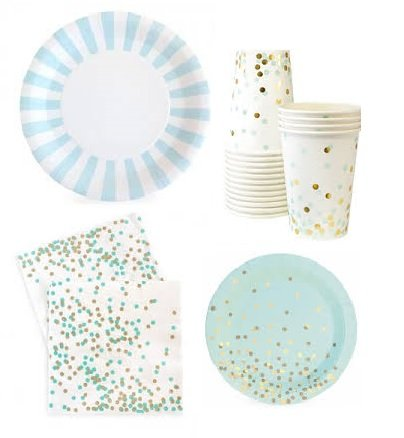 Mint and Gold Party Supplies - Elegant Foil St&ed Paper Plates Cups dessert plates and  sc 1 st  Amazon.com & Amazon.com: Mint and Gold Party Supplies - Elegant Foil Stamped ...